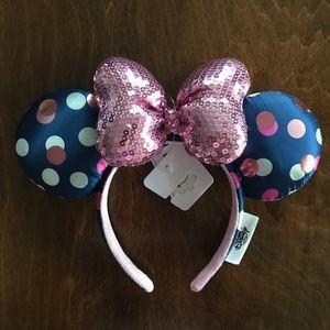Disney   Parks Sequin Bow Polka Dot Minnie Ears